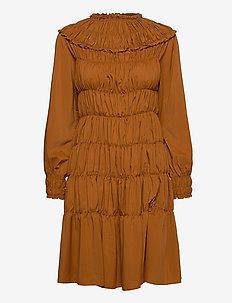 Gathered midi dress - midi kjoler - rust