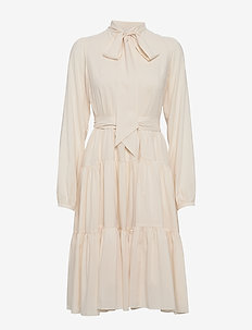 Bowtie peplum midi dress w/long sleeves - CREAM