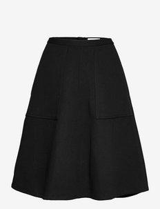 Twill midi skirt w/pockets - midihameet - black