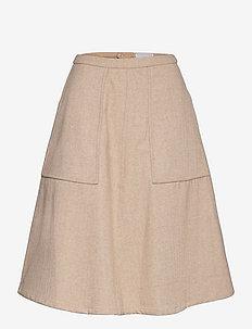 Tweed midi skirt w/pockets - midihameet - almond milk herringbone