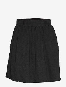 Linen short flared skirt - BLACK