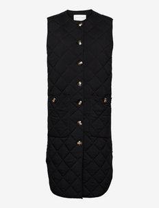Quilted long vest - puffer vests - black