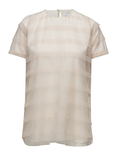 Striped tulle tee-shirt - POWDER