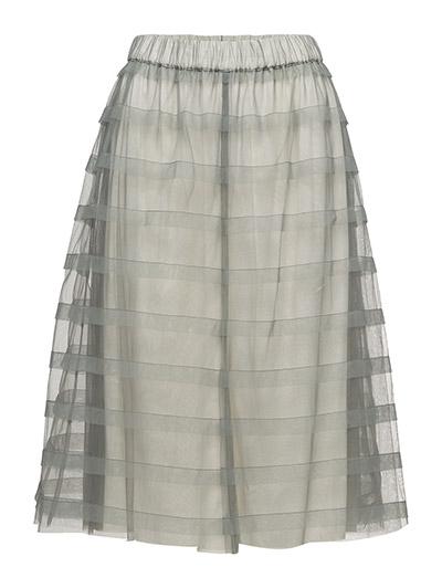 Striped midi tulle skirt - AQUA