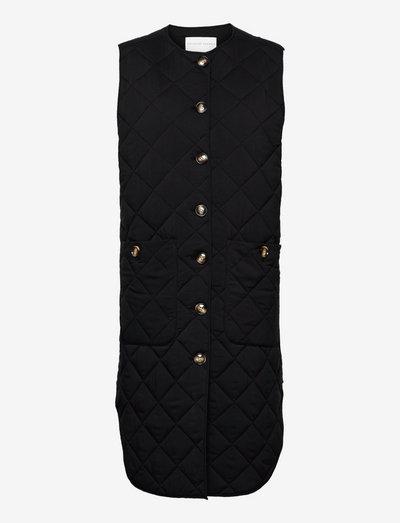 Quilted long vest - vatteret veste - black