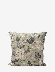 Ceannis - C/c 50x50 Soft Green Flower Linen - housses de coussins - green - 0