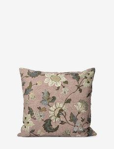 C/c 50x50 Dusty Pink Flower Linen - housses de coussins - pink