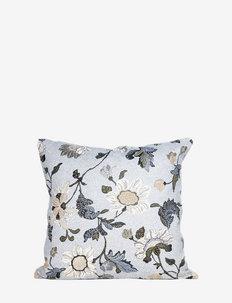C/c 50x50 White Flower Linen - housses de coussins - white