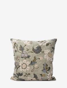 C/c 50x50 Soft Green Flower Linen - cushion covers - green