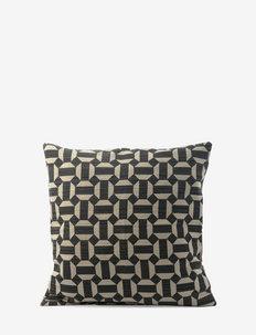 C/c 50x50 Black Printed Diamond - cushion covers - black