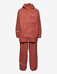 Basci rainwear set, solid - REDWOOD