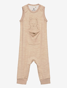 Romper - Solid, w. Front Print - korte mouwen - light taupe