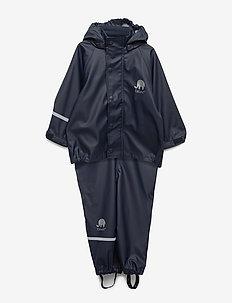 Basic rainwear set -solid PU - sets & suits - navy style 1145