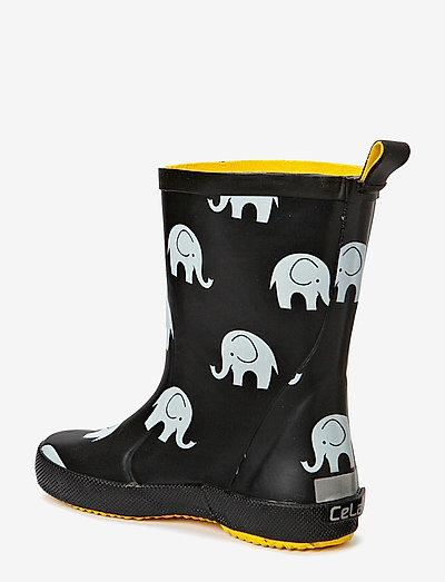 Wellies w.elephant print - rubberlaarzen zonder voering - black