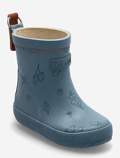 Basic Wellies w. AOP - uforede gummistøvler - smoke blue