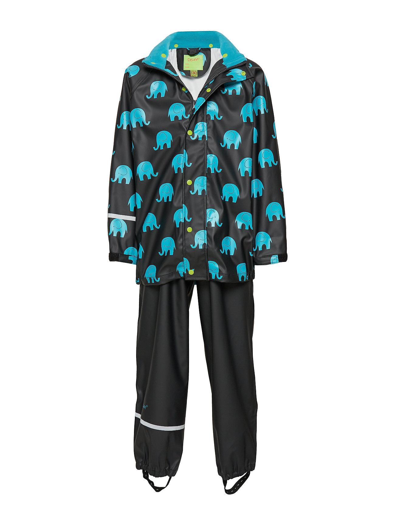 CeLaVi Rainwear set w. elepant print - BLACK
