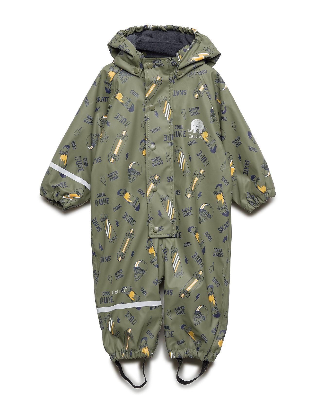 CeLaVi Rainwear suit -AOP w.fleece - ARMY