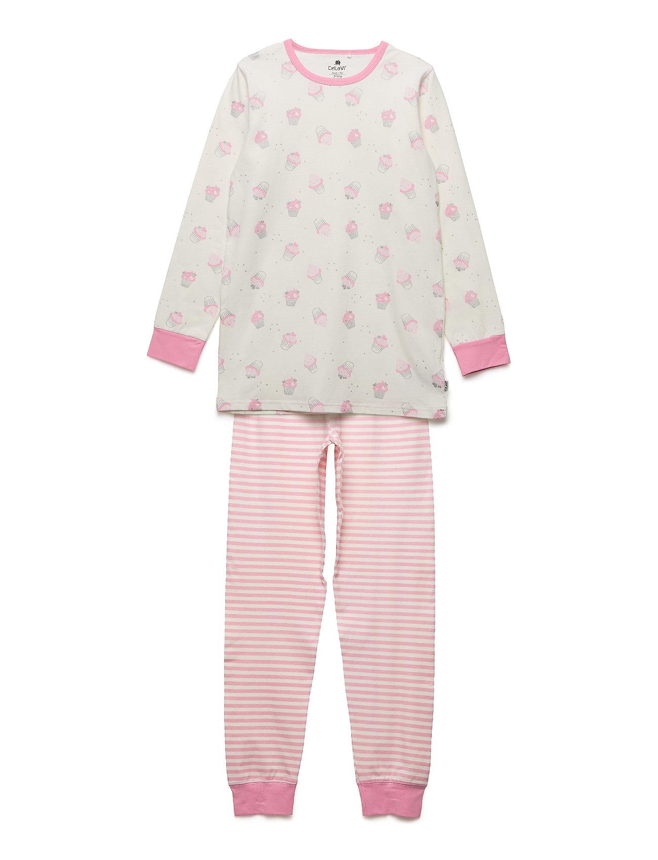CeLaVi Pyjamas w. AOP  ON HANGER - MARSHMALLOW WHITE