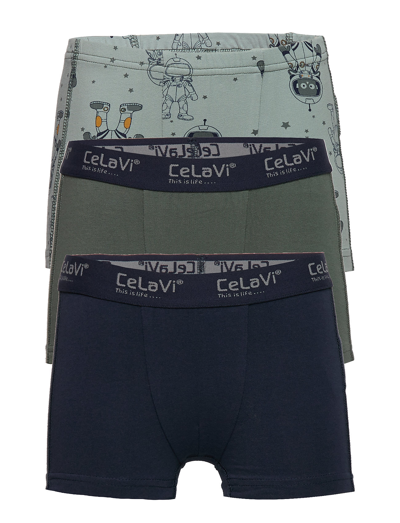 CeLaVi Boxer-shorts w. print (3-pack) - BALSAM GREEN