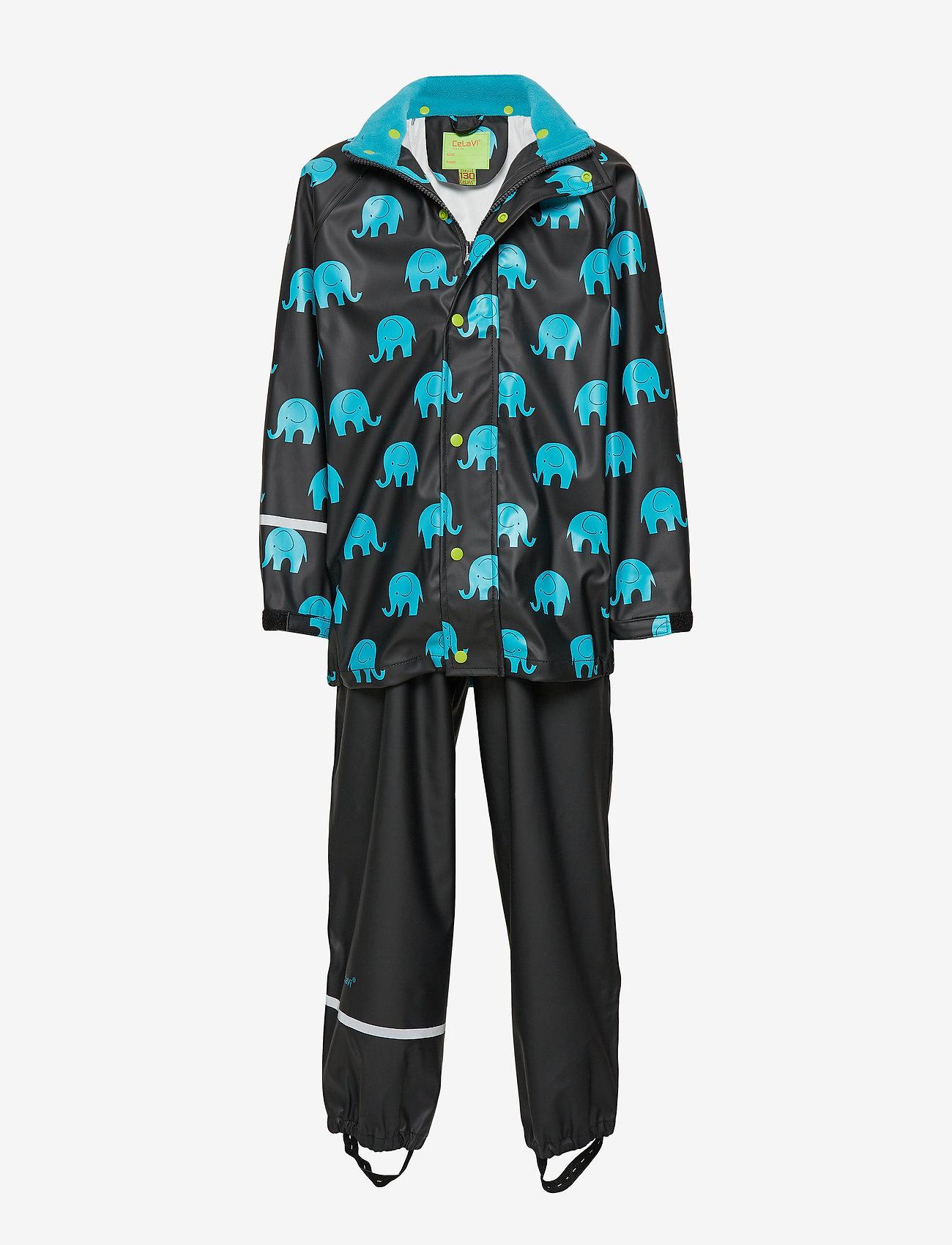 CeLaVi - Rainwear set w. elepant print - sæt & heldragter - black - 0