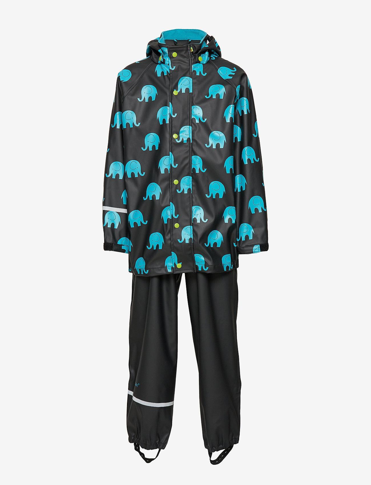 CeLaVi - Rainwear set w. elepant print - sæt & heldragter - black - 1