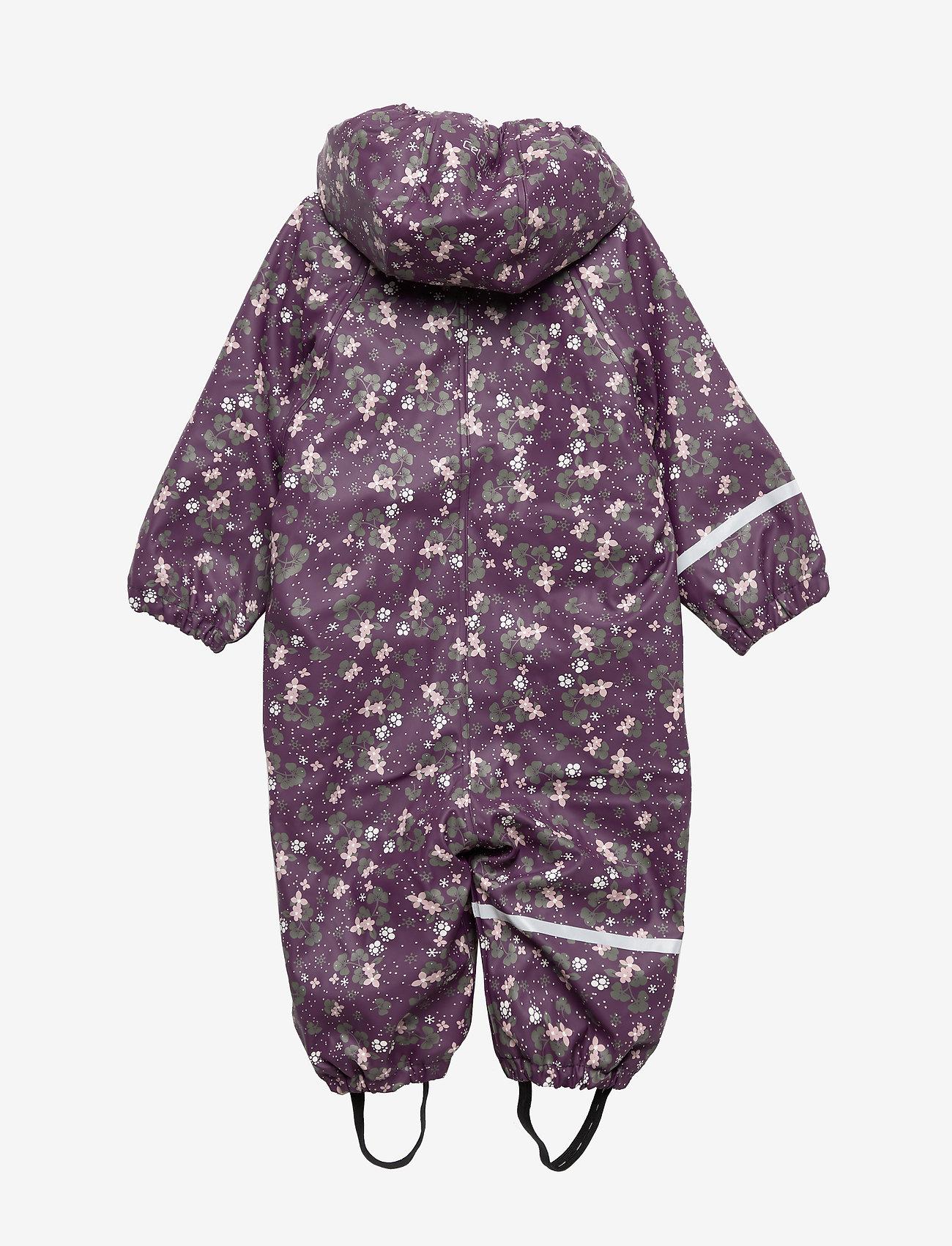 Celavi Rainwear Suit -aop W.fleece - Overaller Blackberry Wine
