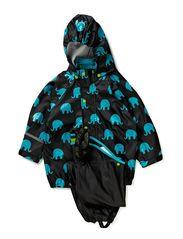 Rainwear set w. elepant print - BLACK