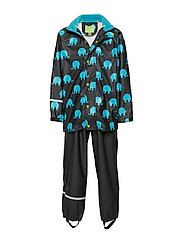 Rainwear set w. elepant print - BLACK