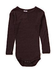 Body l/sl -coloured wool - DARK BROWN
