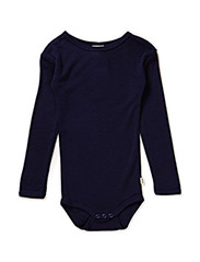 Body l/sl -coloured wool - DARK NAVY