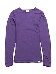 Undershirt longsleeve coloured wool - VIOLET