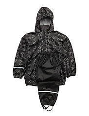 Rainwear -PU w. AOP - BLACK