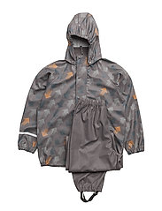 Rainwear set -PU w. AOP - GREY