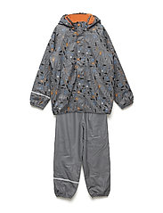 Rainwear set -PU w. termo - STEEL GREY