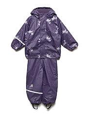Rainwear -AOP w. fleece - PURPLE PLUMERIA