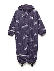 Rainwear suit -AOP w.fleece - PURPLE PLUMERIA