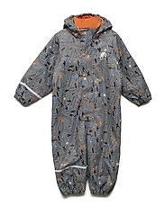 Rainwear suit -AOP w.termo - STEEL GREY