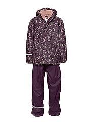 Rainwear -AOP w. fleece w. printed jacket - BLACKBERRY WINE