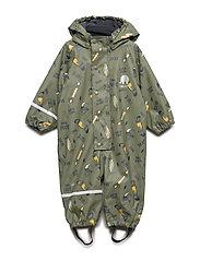 Rainwear suit -AOP w.fleece - ARMY