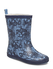 Wellies w. AOP - DRY BLUE
