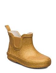 Short wellies w. glitter - PALE GOLD