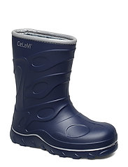 Thermal wellies -embossed - NAVY