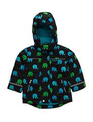 Snow jacket w. AOP elephants - GREY BLACK
