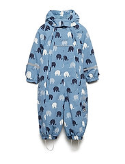 Snowsuit -elephant w 2 zippers - BLUE FOG