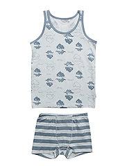 Underwear set w.boy print - BALLAD BLUE