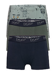 Boxer-shorts w. print (3-pack) - BALSAM GREEN
