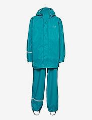 CeLaVi - Basci rainwear set, solid - regntøy - turquoise - 1
