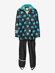 CeLaVi - Rainwear set w. elepant print - sets & suits - black - 0