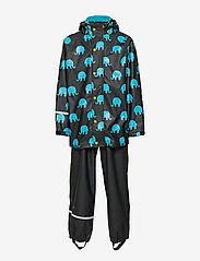 CeLaVi - Rainwear set w. elepant print - sets & suits - black - 1