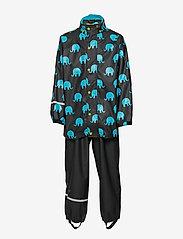 CeLaVi - Rainwear set w. elepant print - sæt & heldragter - black - 2